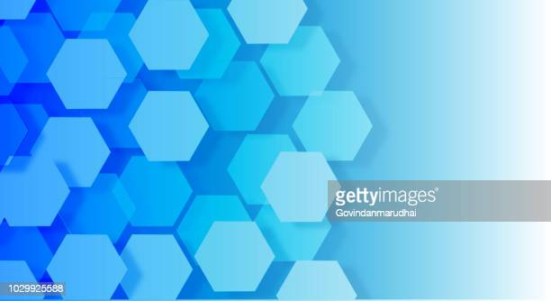 blue color hexagonal abstract - science and technology stock illustrations