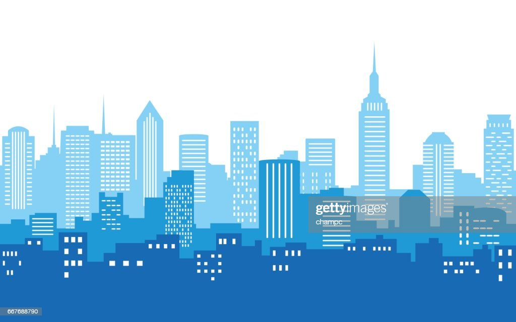 blue color silhouette of city skyline in white color background