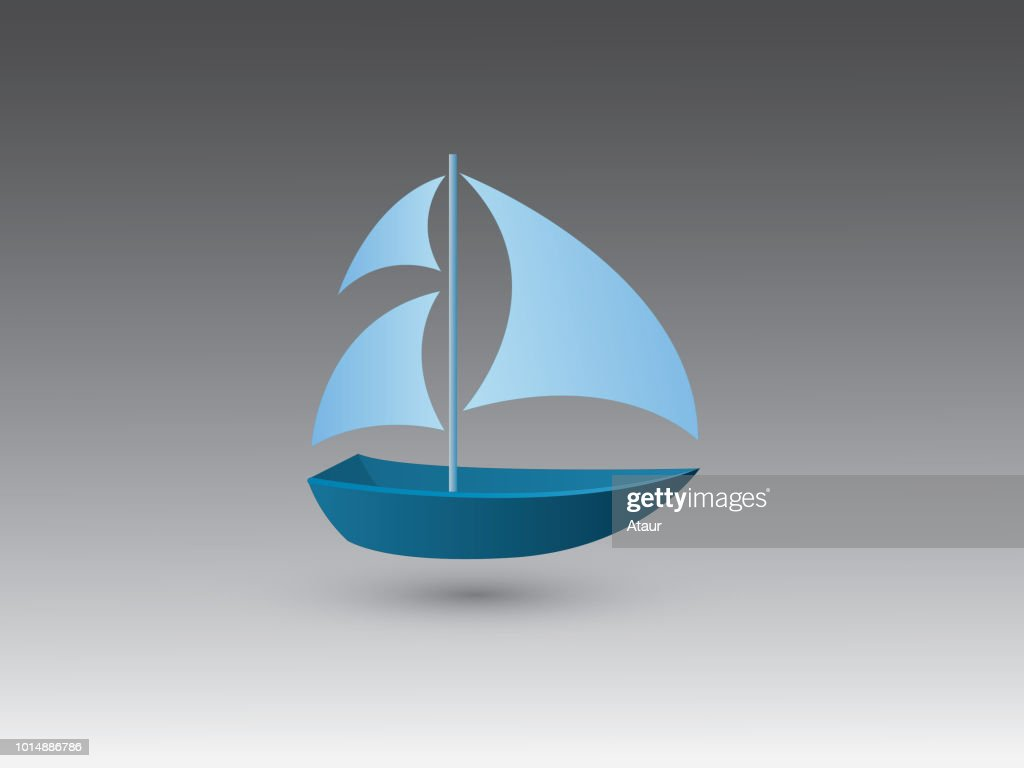A blue color simple small sail boat for traveling and fishing on black background vector illustration