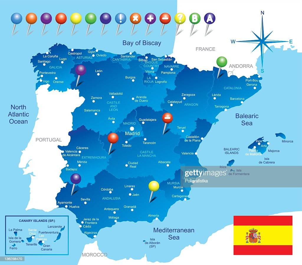 Country Of Spain Map.A Blue Colored Map Of The Country Of Spain Vector Art Getty Images