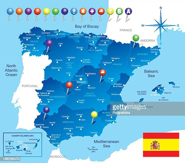a blue colored map of the country of spain  - oviedo stock illustrations, clip art, cartoons, & icons