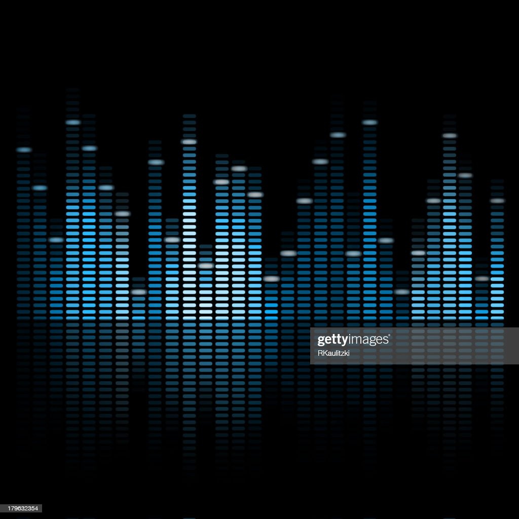 Blue colored vector music equalizer with dark background