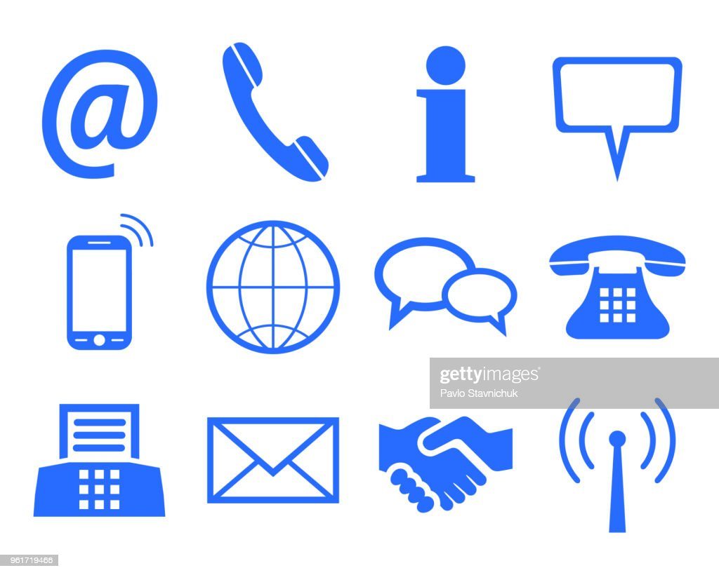 Blue contact icons - stock vector