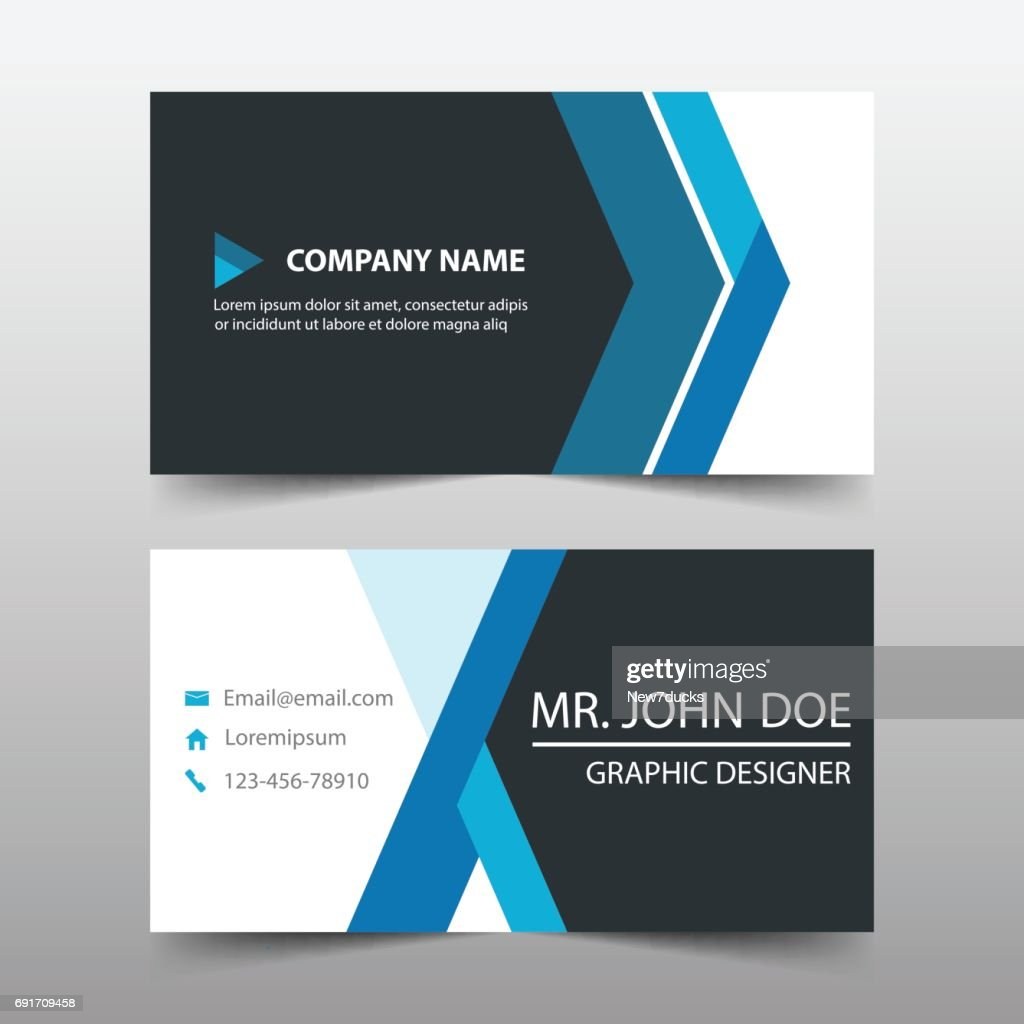 Blue Corporate Business Card Name Template Horizontal Simple Clean ...