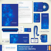 Blue corporate identity template with digital elements.