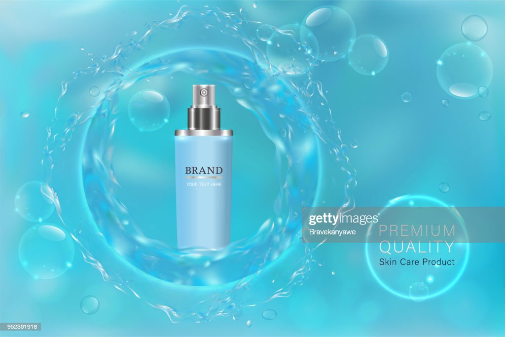 Blue cosmetic container with advertising background ready to use, blue liquid luxury skin care ad.