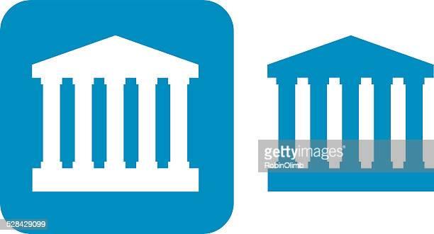 ilustrações, clipart, desenhos animados e ícones de blue courthouse ícones - partenão acrópole