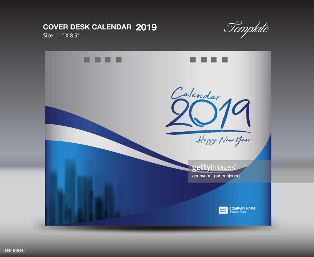 Calendar Flyer Template | Blue Cover Desk Calendar 2019 Design Template Flyer Template Ads