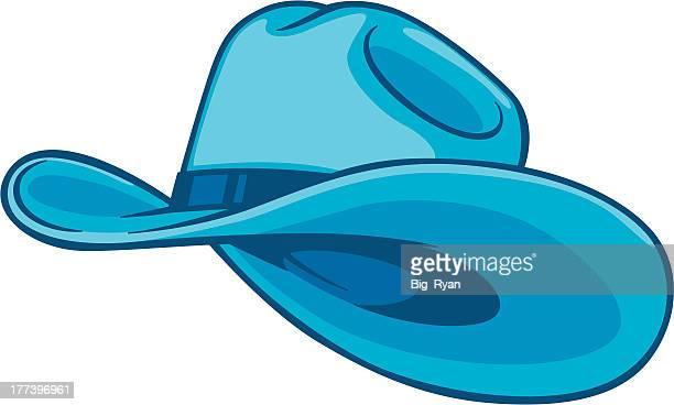 ilustraciones, imágenes clip art, dibujos animados e iconos de stock de azul sombrero de vaquero - sombrero