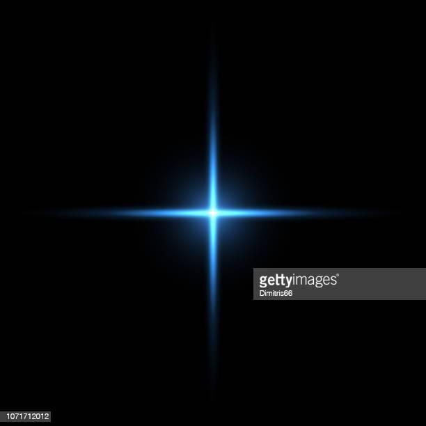 黒い背景に光の青い十字 - light natural phenomenon点のイラスト素材/クリップアート素材/マンガ素材/アイコン素材