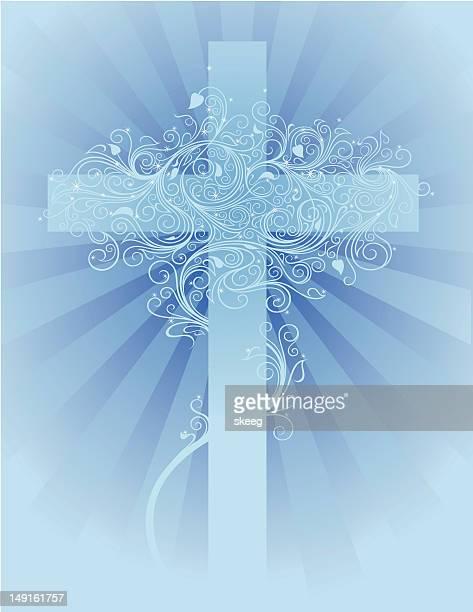 blue cross - crucifix stock illustrations, clip art, cartoons, & icons