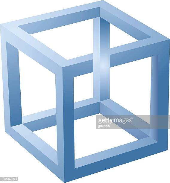 a 3d blue cube optical illusion isolated on white - esher stock illustrations