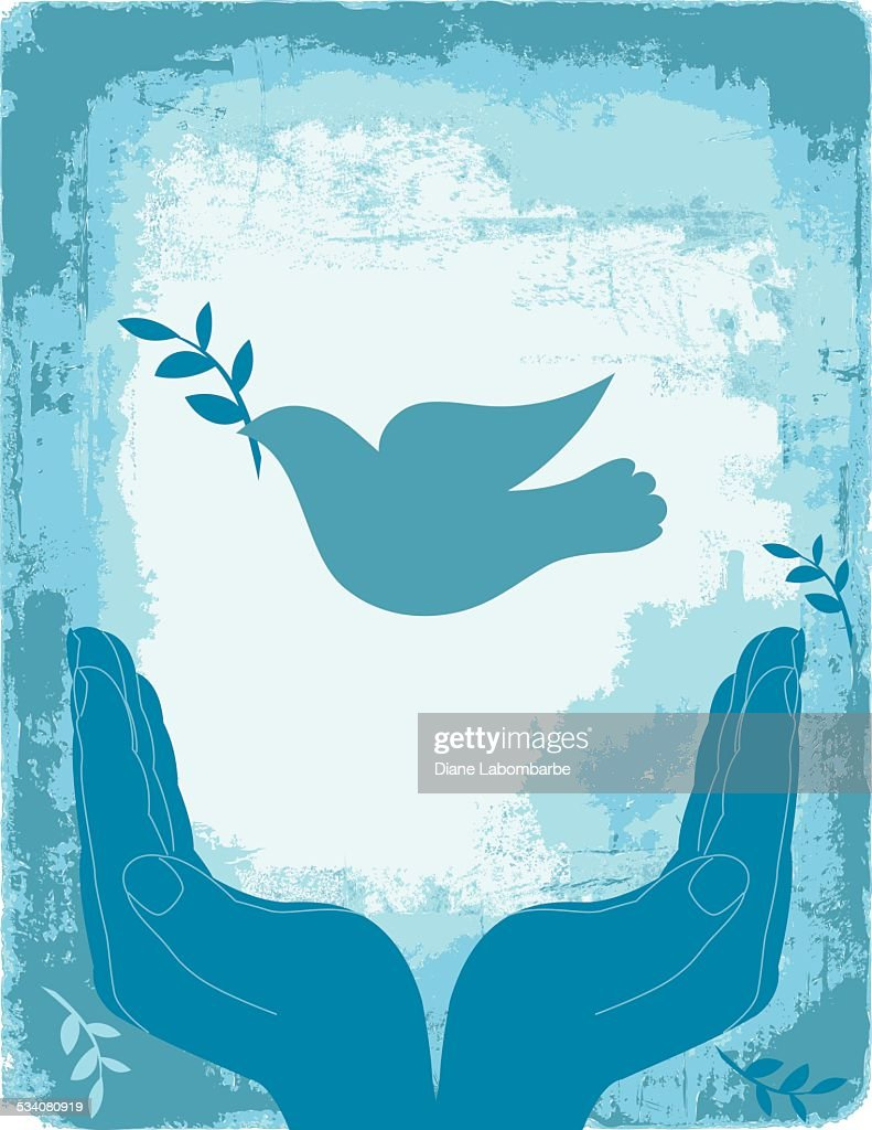 Blue Cupped Hands With Peace Dove