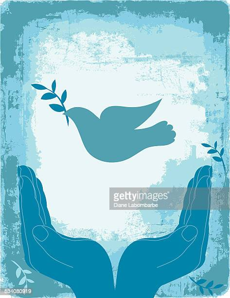 stockillustraties, clipart, cartoons en iconen met blue cupped hands with peace dove - christendom