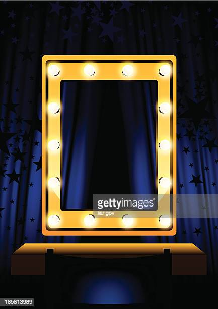 blue curtain & mirror - tempo stock illustrations