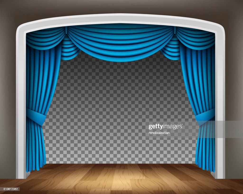 Blue curtain of classical theater on transparent background