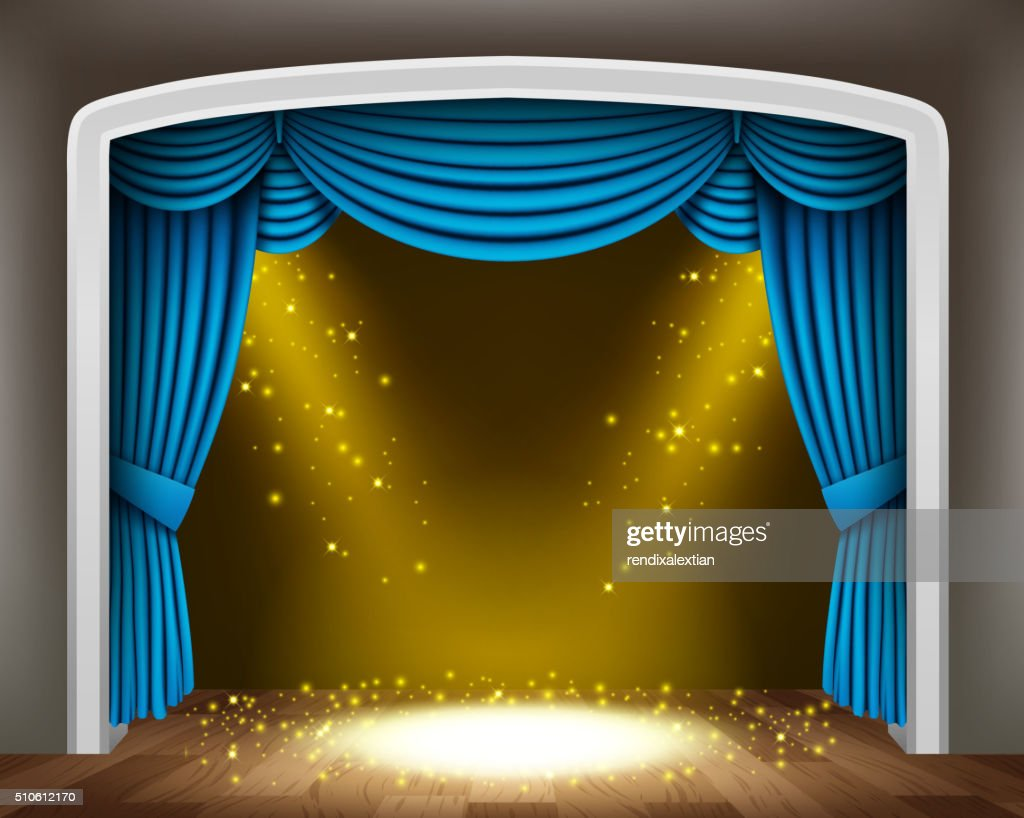 Blue curtain of classical theater with gold spotlights