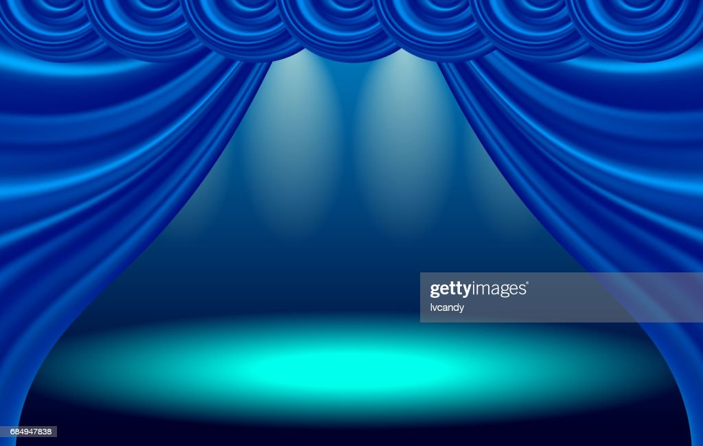 Blue curtain stage : stock illustration
