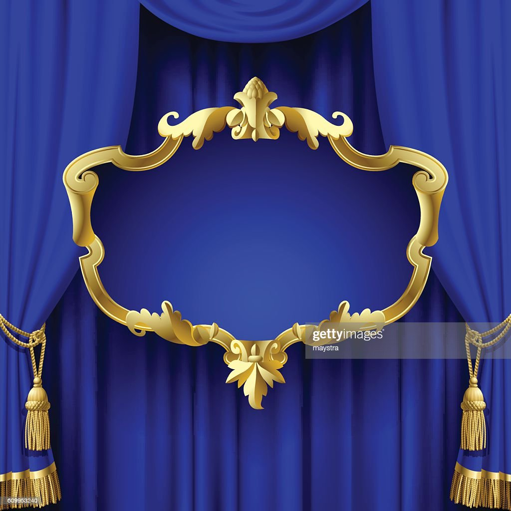blue curtain with a decorative gold baroque frame vector art getty