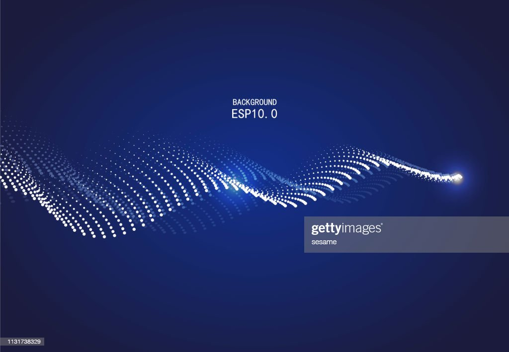 Blue curve particle background : stock illustration