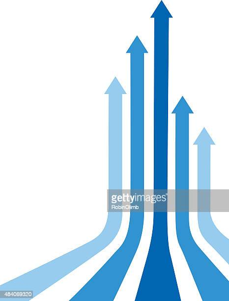 blue curved up arrows - vertical stock illustrations