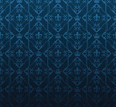 Blue damask pattern wallpaper