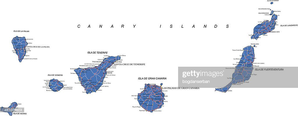 Blue detailed map of the Canary Islands on white background