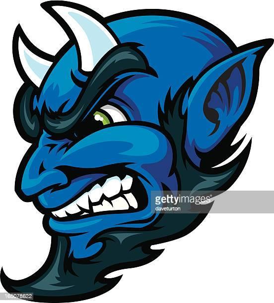 blue devil head - devil stock illustrations