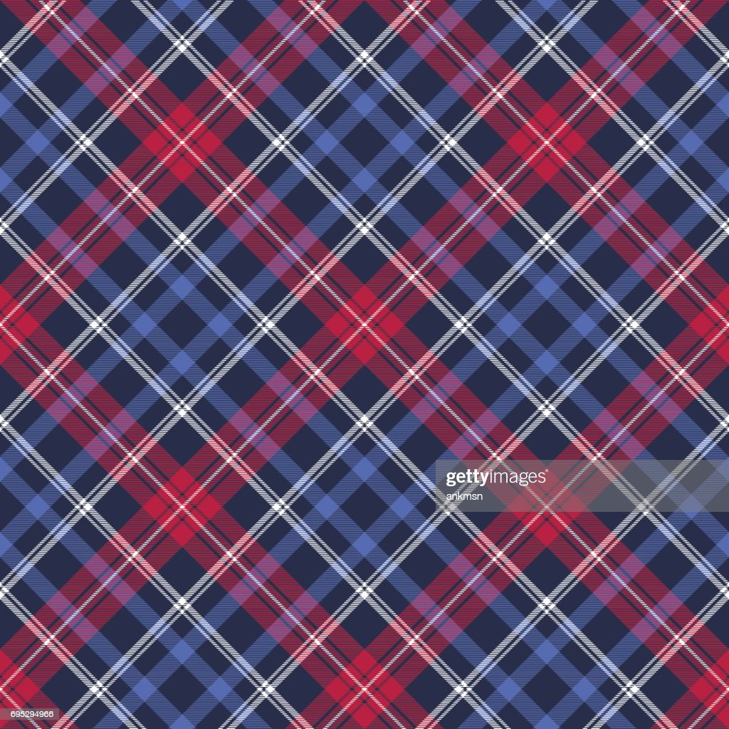 Blue diagonal fabric texture plaid seamless pattern