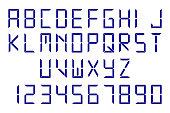 Blue digital font