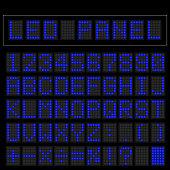 Blue digital squre led font display with sample panel