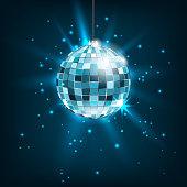 Blue Disco Ball with Light Rays. Glitter Shiny Background