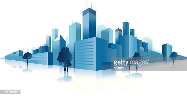 Blue Downtown City Clip art