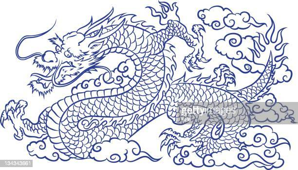 blue dragon - chinese dragon stock illustrations