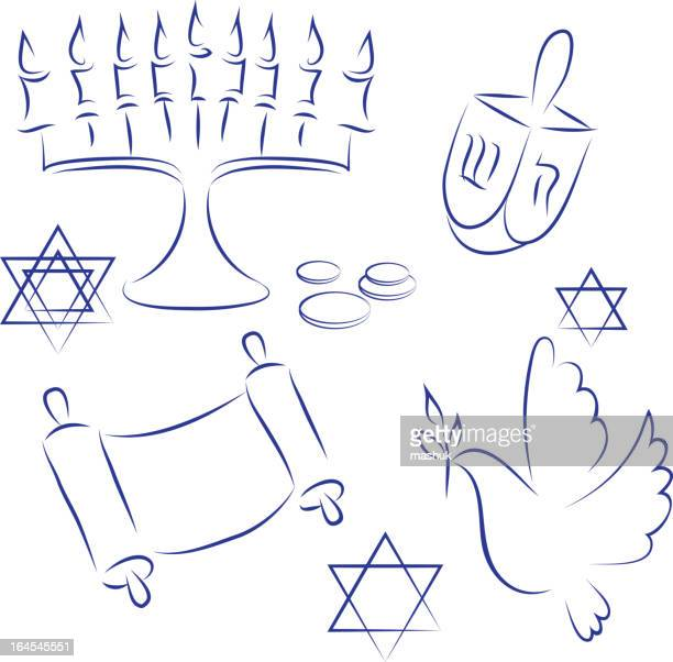 blue drawings of things related to hanukkah - torah stock illustrations