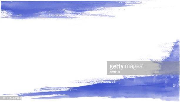 blue dry watercolor brush - taking a corner stock illustrations