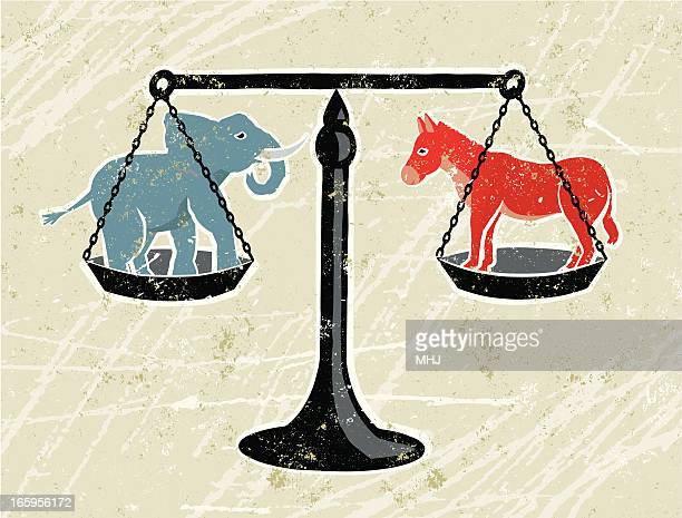 blue elephant and red donkey being weighed on scales - donkey stock illustrations, clip art, cartoons, & icons