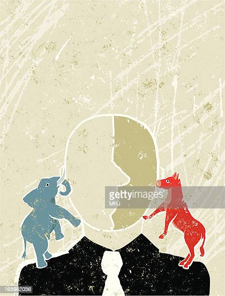blue elephant and red donkey on a man;s shoulders - us republican party stock illustrations, clip art, cartoons, & icons