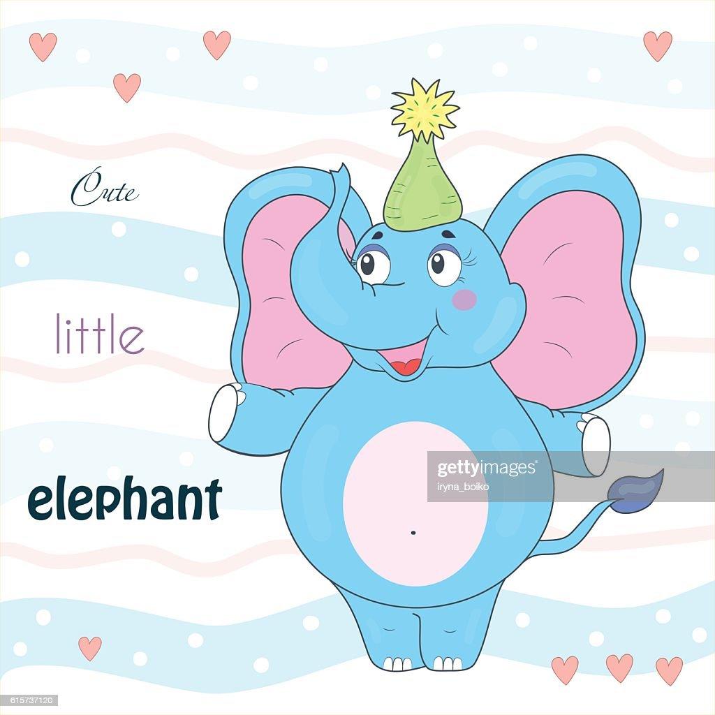 Blue elephant in the cap. Sample comic vector illustration.