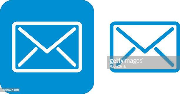 blue email icon - envelope stock illustrations, clip art, cartoons, & icons