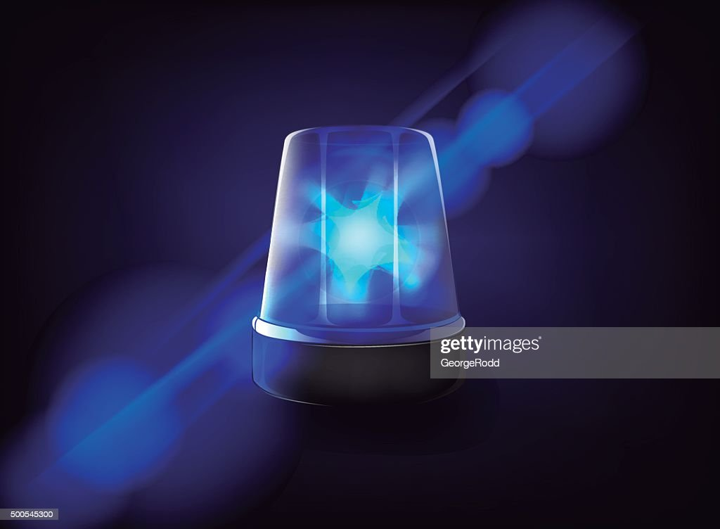 Blue emergency flashing siren. Vector