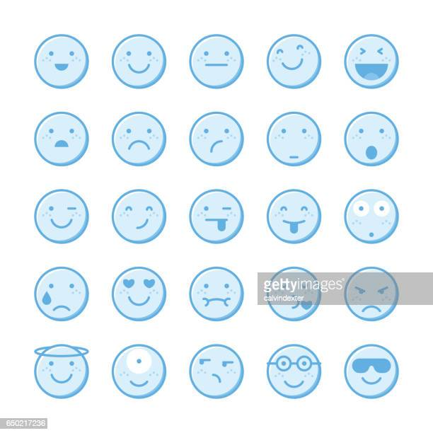 blue emoticons collection set 1 - blink stock illustrations, clip art, cartoons, & icons