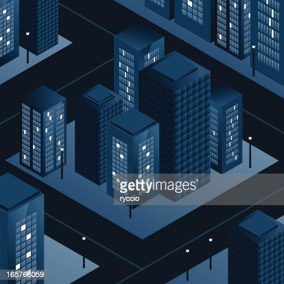 Blue empty city skyscrapers