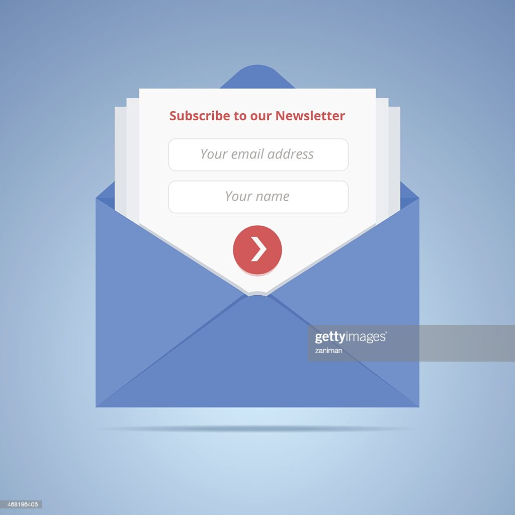 Blue envelope with subscription form.
