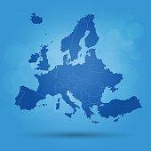 Blue Europe map on marine sky background