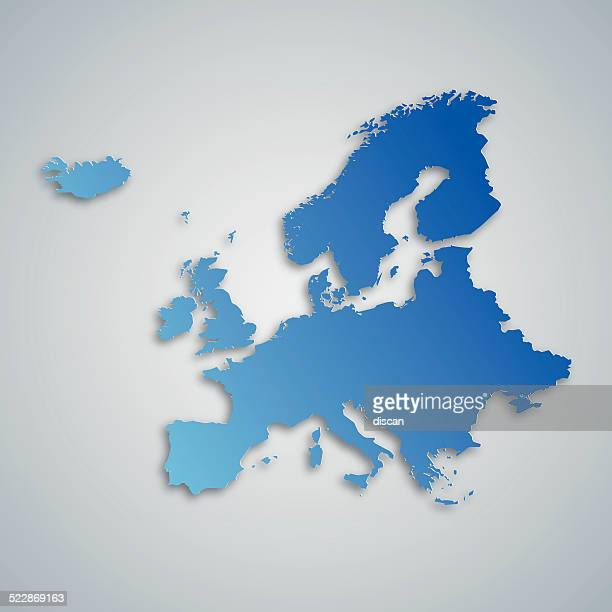 illustrazioni stock, clip art, cartoni animati e icone di tendenza di europa mappa blu - la comunità europea