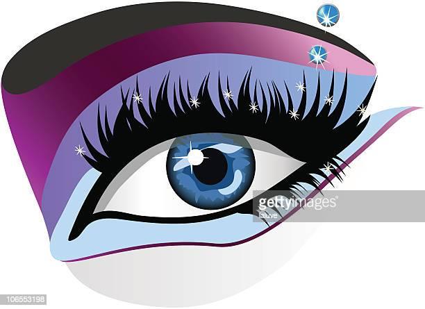 ilustraciones, imágenes clip art, dibujos animados e iconos de stock de azul eye - maquillaje para ojos