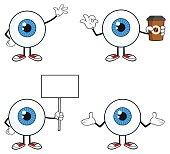 Blue Eyeball Guy Cartoon Mascot Character 2. Collection Set