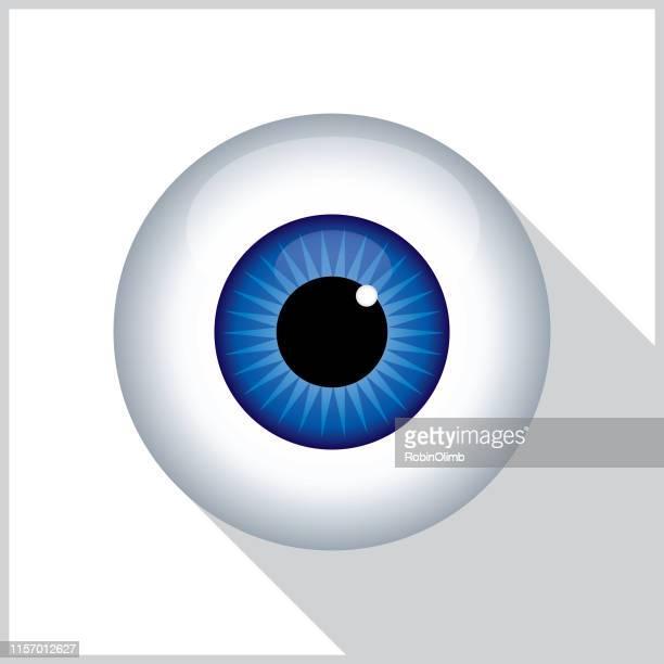 blue eyeball shadow icon - human eye stock illustrations