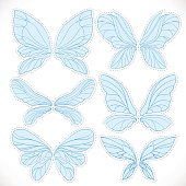 Blue fairy wings with dotted outline for cutting set
